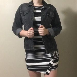 Black and white striped, form-fitting dress (M)